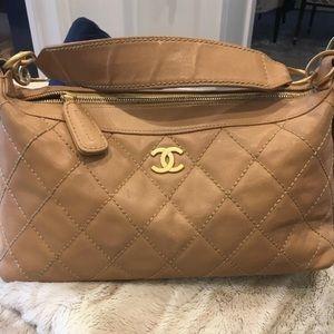 Authentic Vintage Chanel Camel leather satchel